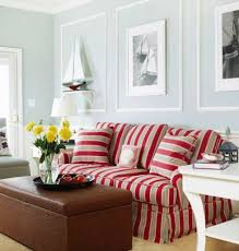 Nautical Living Room Colors With Red Striped Sofa Httpwww - Color of living room