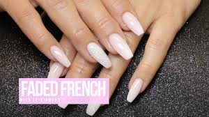acrylic nail design faded french w le diamond youtube