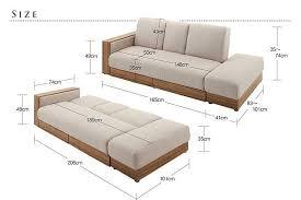 Folding Sofa Bed Multifunctional Fabric Sofa Bed Living Room Sofa Wood Frame
