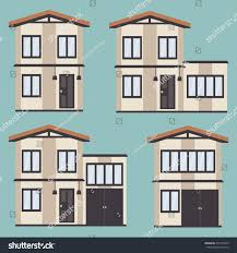 vector illustration exteriors twostory houses stock vector