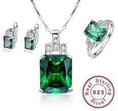 silver pendant necklace set images Hope of green emerald 925 sterling silver pendant necklace set jpg