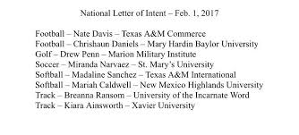 College National Letter Of Intent National Signing Day 2017 Live Updates On Local Athletes College