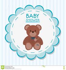 teddy baby shower teddy of baby shower card design stock vector illustration