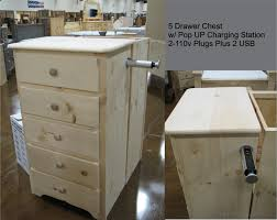 nightstand appealing drawer chest w charging station nightstand