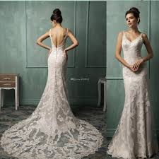 dh wedding dresses discount high quality lace applique v neck backless wedding