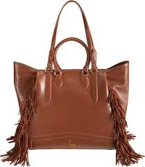 christian louboutin justine fringed shopping tote in brown lyst