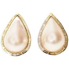 are leverback earrings for pierced ears pair of large mabe pearl and 14k yellow gold pierced lever back