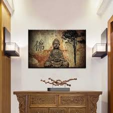 Buddha Room Decor Traditional Brown Buddha Painting Prints On Canvas Classical