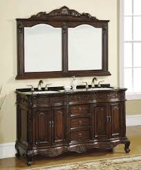 bathroom gorgeous shiny brown dark wood double sink vanity with