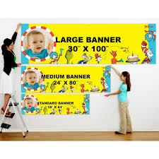 dr seuss 1st birthday dr seuss personalized photo vinyl banner birthdayexpress