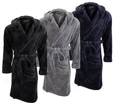 dressing gown michael paul mens hooded soft cosy fleece dressing gown