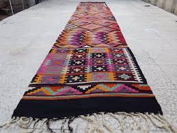 Colorful Kilim Rug 14 U0027 Vintage Extra Long Pink U0026 Orange Colored Turkish Hallway Kilim