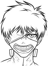 how to draw coloring pages how to draw kaneki ken from tokyo ghoul step by step anime