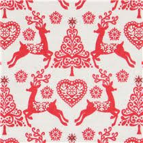 beige fabric with reindeer tree makower uk scandi 4