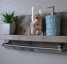 Brushed Nickel Bathroom Shelves Simply Modern Rustic Bathroom Shelf With Satin Nickel Rail Towel
