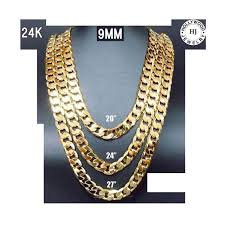 gold cuban necklace images 24k gold chain cuban necklace 9mm miami link w real solid clasp jpg
