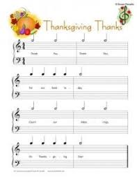 thanksgiving piano composition worksheet with notes on the staff