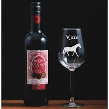 beautiful engraved wine glass horse u2013 the spotted moon company
