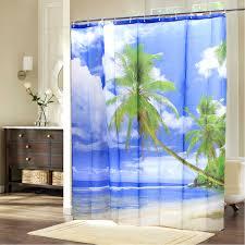 hawaii tropical palm tree summer beach polyester shower curtain
