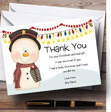 pink cute snowman personalised christmas thank you cards the