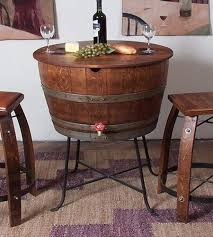 Wine Barrel Bar Table Wine Barrel Transformed Into Table And Cooler All In One Hometone