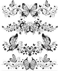 stylish butterflies ornaments vector ai format free vector