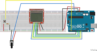 fritzing project u2013 display potentiometer read nokia 5110 lcd