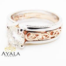 unique art deco engagement ring 14k two tone gold 1 carat