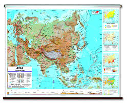 Map Of Asia And Europe by Physical Continent Spring Roller Wall Maps