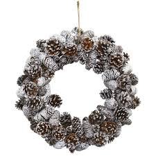 nearly natural snowy pine cone wreath 4553 the home depot