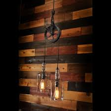 pulley pendant light fixtures rustic pulley pendant light with whiskey bottles id lights
