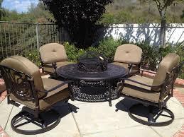 Deep Seating Patio Furniture Sets - elisabeth cast aluminum 5pc deep seating set with 4 u2013swivel