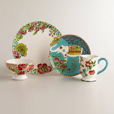 porcelain elephant nomad elephant plates set of 4 world market