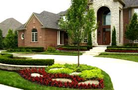 impressive front yard designs for two story homes with beautiful
