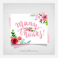 floral thank you card background vector free