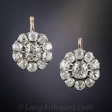 diamond cluster earrings antique diamond cluster earrings