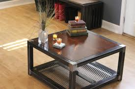 Metal And Wood Cabinet Furniture Square Wood And Metal Coffee Table With Storage And