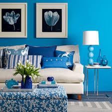 bright blue family room wall color for bohemian interior design