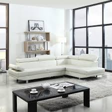 White Leather Living Room Set 2 Modern Contemporary Faux Leather Sectional