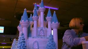 frozen fever castle cake assembled and decorated at