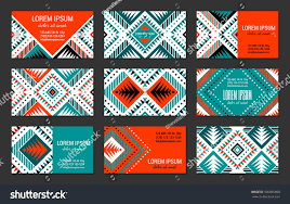 aztec style colorful business card set stock vector 590055860