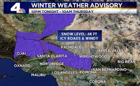California Weather Map Winter Weather Advisories In Southern California Christmas