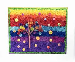 gumdrop tree mosaic quilled quilled wall abstract