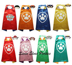 personalized paw print paw patrol cape masks solid costume