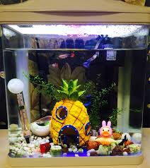 resin aquarium spongebob decoration pineapple house fish tank