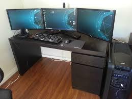 atlantic furniture gaming desk black carbon fiber simple wenge finish oak wood gaming computer desk with three