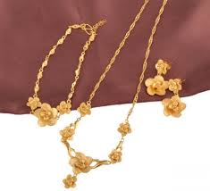 gold necklace bracelet earrings set images 24k real gold plated beautiful flower necklace bracelet and jpg
