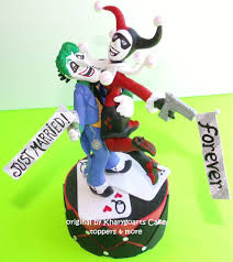 harley cake topper handmade the joker and harley quinn wedding cake topper by
