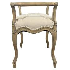 laure french country oak cream linen upholstered bench kathy kuo