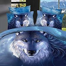 Wolf Bed Sets Ammybeddings 3d Blue Wolf Bedding Sets 4